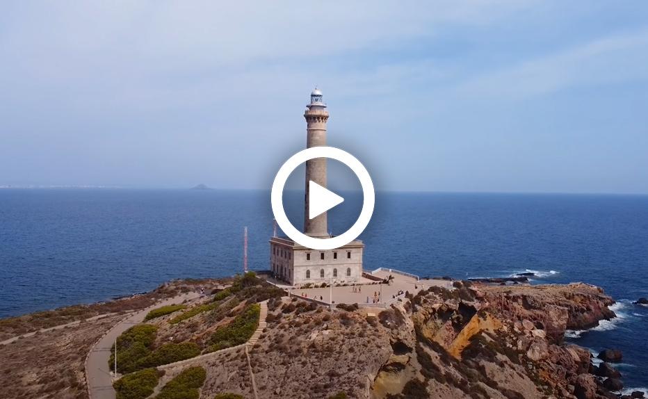 Video. El faro de Cabo de Palos y alrededores a vista de dron.